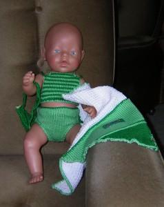 Bikini, Badetuch und Tasche für Puppe 40-45 cm, P055