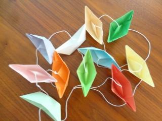 Girlande Boote, Papiergirlande, Origami - Handarbeit kaufen
