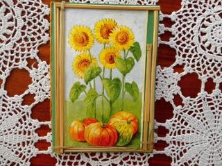 Herbstkarte mit Sonnenblume und Kürbis - Handarbeit kaufen