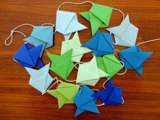 Girlande mit Fischen, Origami, Wimpelkette - Handarbeit kaufen