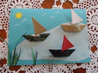 Karte mit Segelbooten,  Schiff ahoi!! Auf großer Fahrt - Handarbeit kaufen