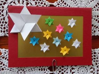 Weihnachtskarte Fröhliche Sterne - Handarbeit kaufen