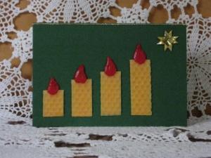 Weihnachtskarte 4 Kerzen, Adventskarte - Handarbeit kaufen