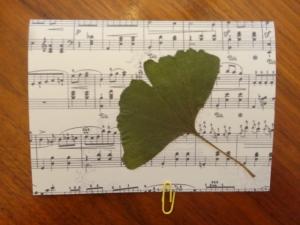 Grußkarte Ginkgo Natur grün - Handarbeit kaufen