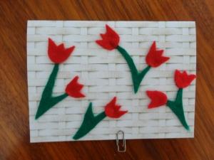Frühlingskarte mit Tulpen - Handarbeit kaufen