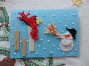 Winterkarte Schneemann - Handarbeit kaufen