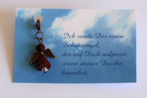Schutzengel aus Polaris-Perlen in Weinrot mit Spruch-Karte ★ Schutzengel ★  - Handarbeit kaufen