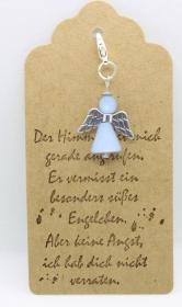 ♥ Süßer Schutzengel in Hellblau aus Polaris-Perlen mit gestempelten Spruch-Anhänger ♥    - Handarbeit kaufen