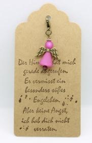 ♥ Süßer Schutzengel in Rosa aus Polaris-Perlen mit gestempelten Spruch-Anhänger ♥    - Handarbeit kaufen