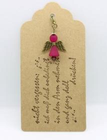 ★ Süßer Schutzengel in Pink aus Polaris-Perlen mit gestempelten Spruch-Anhänger ★ - Handarbeit kaufen