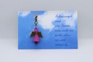 Schutzengel aus Polaris-Perlen in Rosa mit Spruch-Karte ★ Sterne ★    - Handarbeit kaufen