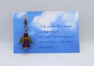 Schutzengel aus Polaris-Perlen in Weinrot mit Spruch-Karte ★ Sterne ★   - Handarbeit kaufen