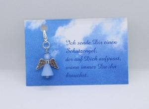 Schutzengel aus Polaris-Perlen in Hellblau mit Spruch-Karte ★ Sterne ★    - Handarbeit kaufen