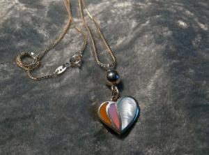 Die moderne, Herzige, 925  Herzanhänger mit  925 Silberkette