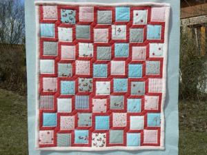 Kinderquilt mit ☀ Füchsen ☀ pastellfarben und flauschig weicher rosa Rückseite - Handarbeit kaufen