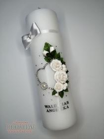 NEU Hochzeitskerze ´Aphrodite´ mit Swarovski Strassherz, Weiß, personalisiert mit Beschriftung - Handarbeit kaufen