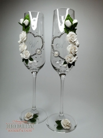NEU Hochzeit Hochzeitsgläser ´Aphrodite´ Weiß, personalisiert mit Initialen - Handarbeit kaufen