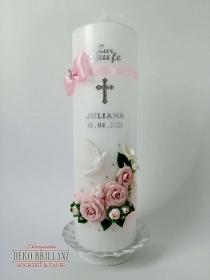 NEU Taufkerze Junge Mädchen *Rosenschatz* Kreuz Taube Engel, personalisiert mit Beschriftung - Handarbeit kaufen