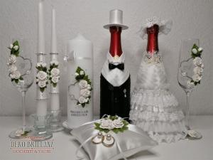 NEU Luxus Hochzeitsset ´Aphrodite´ nach Ihrem Farbwunsch, Hochzeitskerze Elternkerzen Ringkissen Hochzeitsgläser Hochzeitsflaschen - Handarbeit kaufen