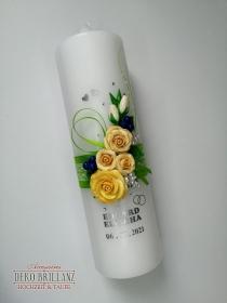 NEU Hochzeitskerze ´Alisa´ Gelb-Grün, personalisiert mit Beschriftung - Handarbeit kaufen
