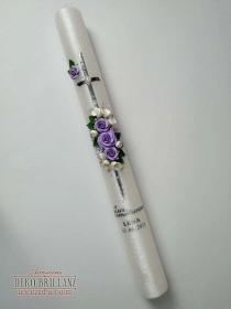 NEU Kommunionkerze Junge Mädchen *Rosenschatz* personalisiert mit Beschriftung, Flieder mit Aufbewahrungskarton - Handarbeit kaufen