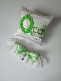 NEU Vintage Ringkissen & Brautband *Tiffany* Grün - Handarbeit kaufen