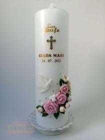 NEU Taufkerze Junge Mädchen *Rosenschatz ohne Band* Kreuz Taube Engel, Rosa, personalisiert mit Beschriftung - Handarbeit kaufen