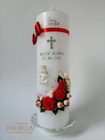 NEU Taufkerze Junge Mädchen *Rosenschatz* Kreuz Taube Engel, Rot, personalisiert mit Beschriftung - Handarbeit kaufen