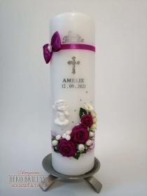 NEU Taufkerze Junge Mädchen *Rosenschatz* Kreuz Taube Engel, Purpur, personalisiert mit Beschriftung - Handarbeit kaufen