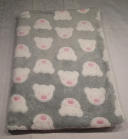 Babydecke/Kuscheldecke, Teddyplüsch grau/weiß Bärenköpfe