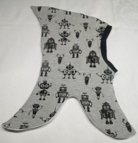 Zipfel-Schlupfmütze für Jungs, Roboter, Gr. 46-50 cm, grau/schwarz