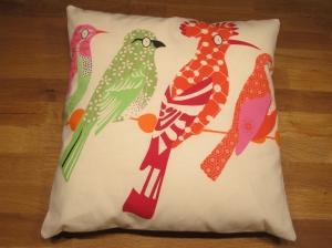 Kissenhülle mit Hotelverschluß, 40 x 40 cm, natur mit Vögeln, Bio-Baumwolle