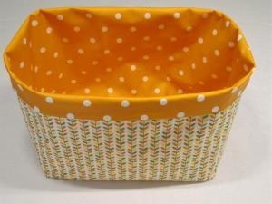 Utensilo - Baumwolle/Wachstuch - wendebar - Blätterranken und Dots, orange
