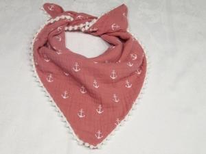 Musselinhalstuch für Babys und Kleinkinder, rosa Anker, mit Bommelborde