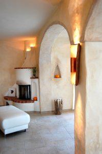 Wandleuchte Provence, aus antike Mönch&Nonne Tonziegel, monitiert  mit Edelstahlleuchte up&down