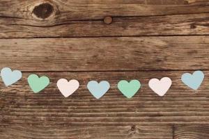 genähte Herz-Girlande aus Papier - weiß&blau&türkis von Nanuschka
