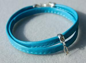 Wickelarmband mit ICHTHYS  Nappa-Leder, Silber
