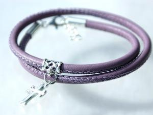 Wickelarmband  KREUZ  Nappa-Leder flieder, Silber