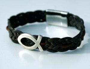 Männer-Armband mit ICHTHYS,  Leder braun