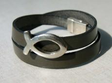 Wickelarmband Leder mit Ichthys christlich Fisch braun Magnetverschluss Mann