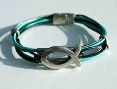 Armband ICHTHYS Leder 6fach mint grau schwarz versilbert