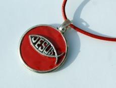 Anhänger Ichthys rot am Lederband Emaille Unikat christlich