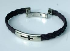 Männer Armband Nappa-Leder Edelstahl Kreuz