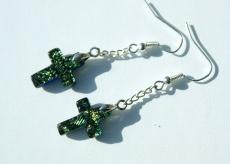 Ohrhänger Kreuz dichroitisches Glas gelbgrün