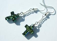 Ohrhänger Kreuz dichroitisches Glas gelbgrün Kette versilbert christlich leicht zierlich Ohrschmuck