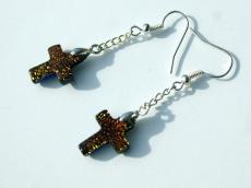 Ohrhänger Kreuz dichroitisches Glas orange versilbert zierlich Kette christlich