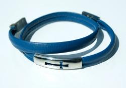 Wickelarmband KREUZ Nappa-Leder blau Edelstahl
