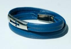 Wickelarmband KREUZ Nappa-Leder blau Edelstahl schlicht elegant