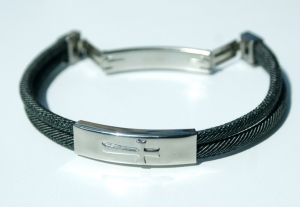 Männer Armband KREUZ Jeansband doppelt,  Edelstahl