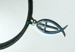 Halskette Männer ICHTHYS mit KREUZ Edelstahl Jeans